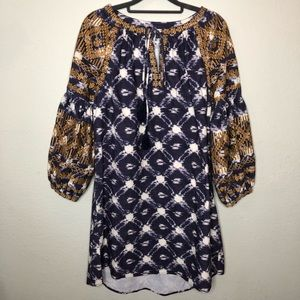 Ivy Jane Denim Blue and Gold Dress Size Small